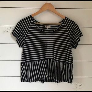 Madewell navy and cream striped top XS